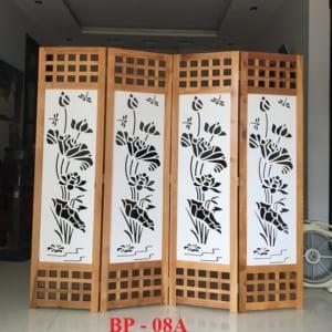 Bình phong gỗ Ô vuông CNC Hoa sen BP08A