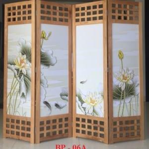Bình phong gỗ Tranh vải lụa cá chép phú quý BP06A