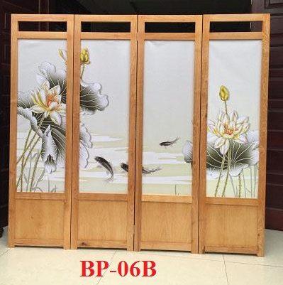 Bình phong gỗ Tranh vải lụa cá chép phú quý BP06B